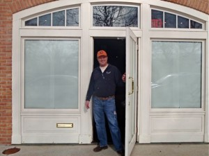 Pasta Palooza owner Mike Moore at the front door of his soon-to-open restaurant in Lake Bluff.
