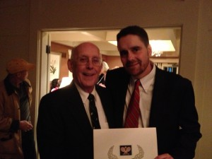 Dave Ohlmuller, at right, after being inducted into the Platform Tennis Hall of Fame