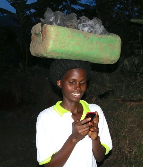 Texting while carrying charcoal...