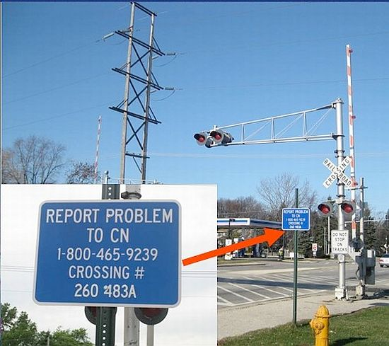 The former Elgin, Joliet & Eastern railroad crossing on Waukegan Road north of the Lake Bluff McDonalds is now owned by Canadian National. CN uses the blue sign shown.