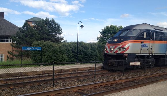 A northbound Metra arrives at the west Lake Forest depot on July 1.