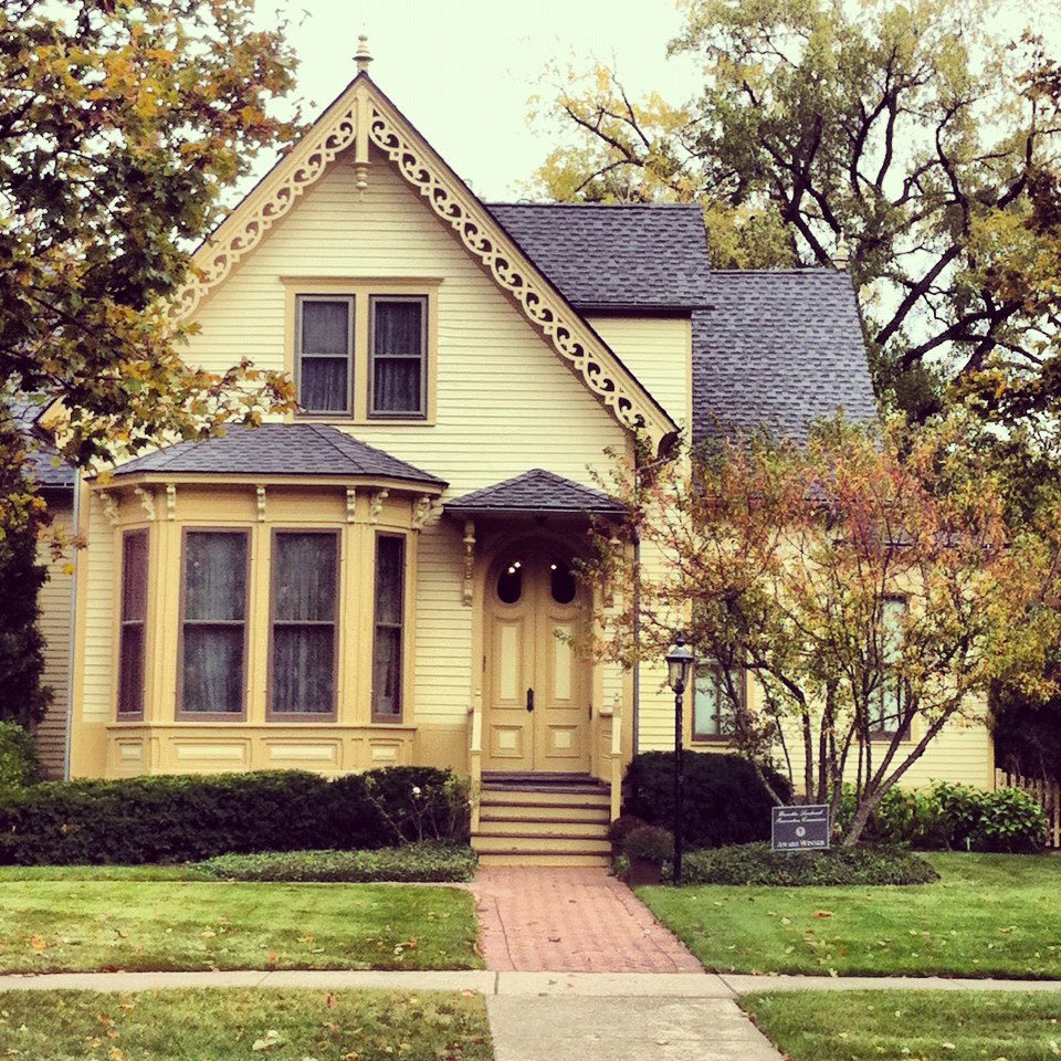 The Winnetka Historical Society is located in this circa 1859 Carpenter Gothic-style house, aka the Densmore house named after the home's most notable owners. It is a Local Landmark and received a Preservation award from Winnetka's Landmarks Preservation Commission after the Historical Society in 2011 replaced the roof and did a complete scrape and paint, removing 150 years of paint. At one time the house was pink.