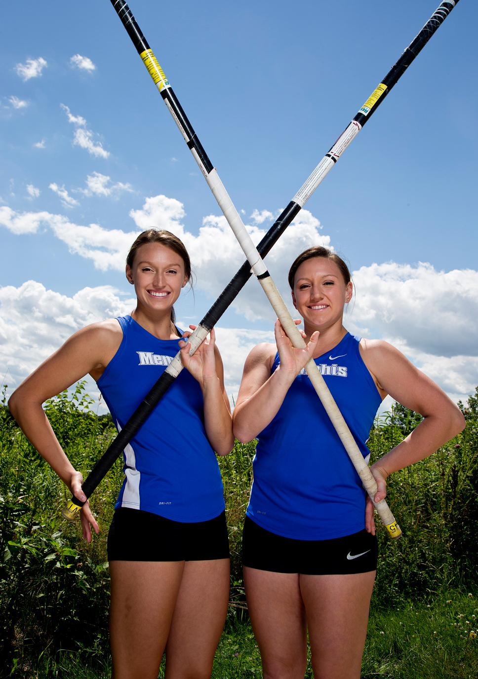 Carolina and Ofelia Carmichael are track teammates at the University of Memphis. Photo by Joel Lerner
