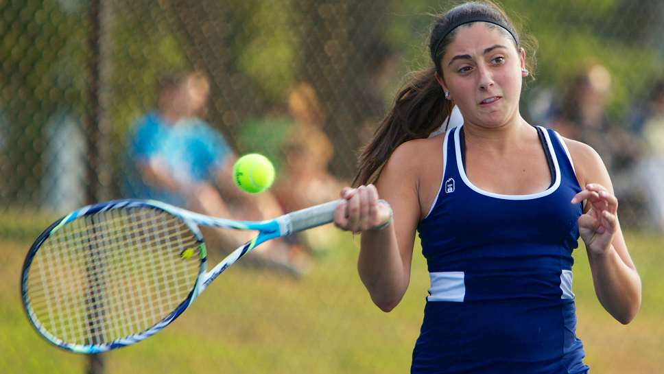 Forehand thinking: Glenbrook South's Annie Emme is one of the state's top singles players. She'll join former teammate Christine Ryba at the University of Minnesota. Photo by Joel Lerner