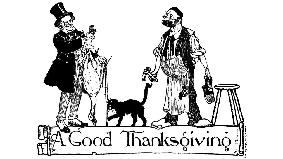"This image of ""A Good Thanksgiving"" accompanied a poem by M.G.. Edgar, in ""A Treasury of Verse for Little Children"" (1923); image courtesy of www.fromoldbooks.org, a Canadian blog that features images from old books. To read the poem, please visit  http://fromoldbooks.org/r/x/pages/236-A-Good-Thanksgiving/"