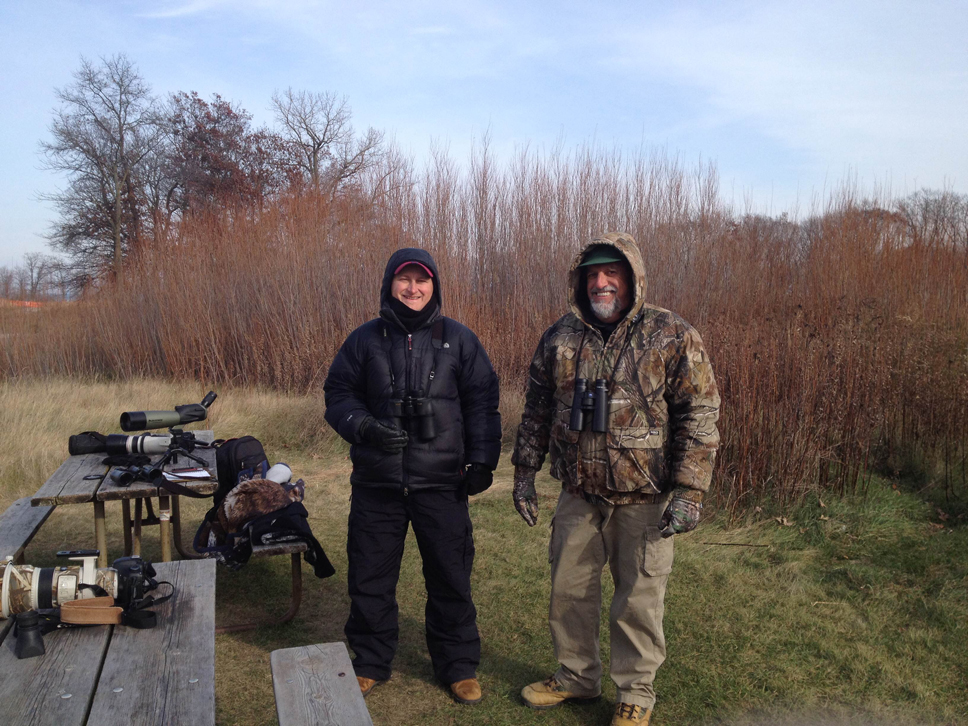 From left: Michal Furmanek and Vic Berardi of the Fort Sheridan HawkWatch group; photo by DNS reporter Sam Eichner