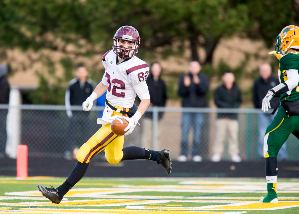 'Owen' it: Loyola Academy's Owen Buscaglia races into the end zone just before halftime with his team's first score. LA lost to Stevenson 24-21 in the second round of the Class 8A state playoffs. Photo by Ting Shen