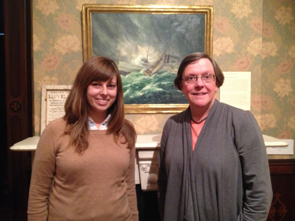 Siera and Patti Van Cleave, with a portrait of the Lady Elgin, a palatial side wheel steamboat that is considered the worst tragedy ever see on the Great Lakes.