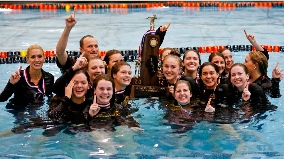 Soaking in the glory: LA swimmers win state