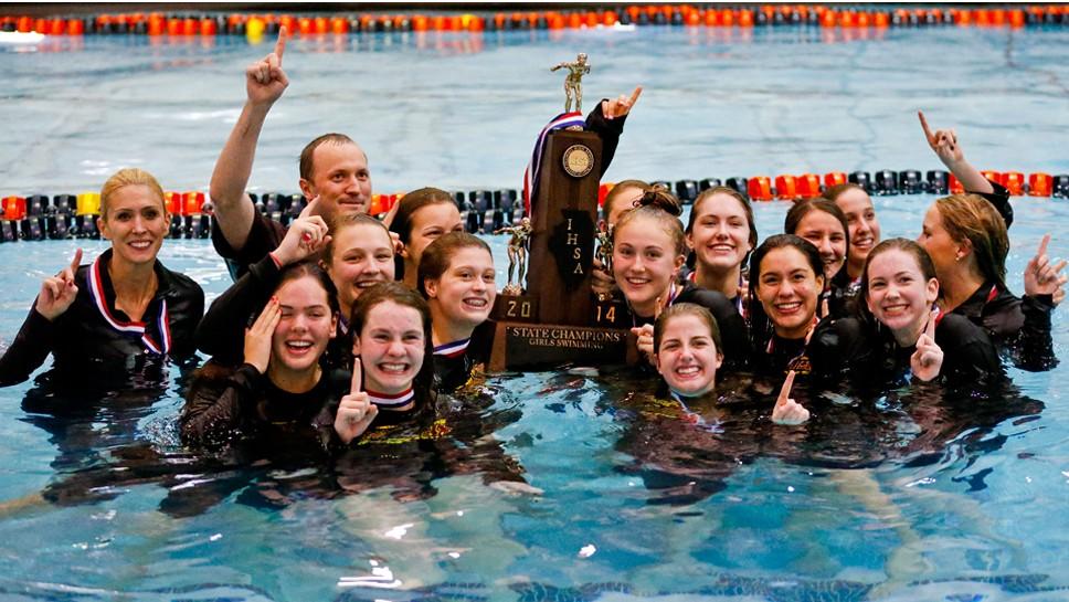 Soaking in the glory: LA swimmers win state