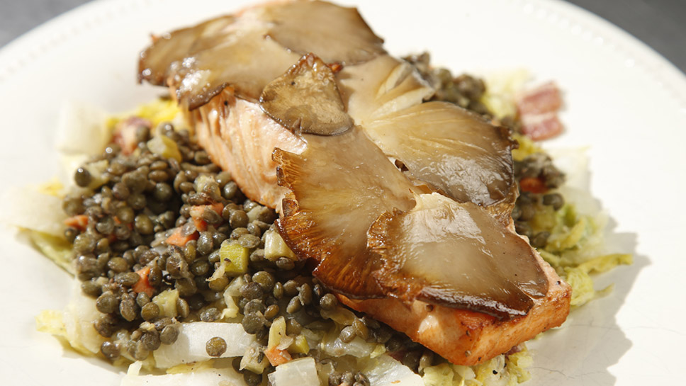 The wild mushroom seared salmon, complete with warm French lentils, is one of Buhl & Brown Kitchens' signature dishes. Photography by Joel Lerner
