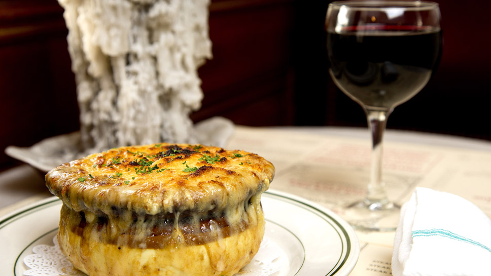 French onion soup is a crowd-pleaser at Miramar. Photography by Joel Lerner
