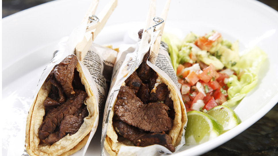 Generous chunks of tenderloin tips are part of chef Steven Leviton's recipe for steak tacos. Photography by Joel Lerner