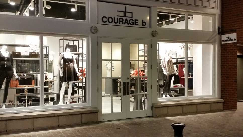 Courage b's storefront windows in Bethesda, Maryland
