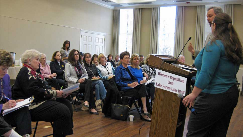 """Women's Republican Club of Lake Forest-Lake Bluff hosted a debate March 14, 2015 on Common Core, PARCC and """"womb to tomb"""" student data collection with Bruno Behrend of Heartland Institute and Jessica Handy of Stand for Children-Illinois."""
