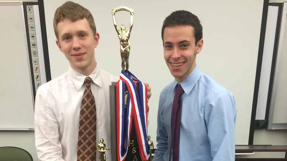 GBN's Ryan Spector and Anthony Trufanov won first place in Policy Debate at the Varsity IHSA state tournament.
