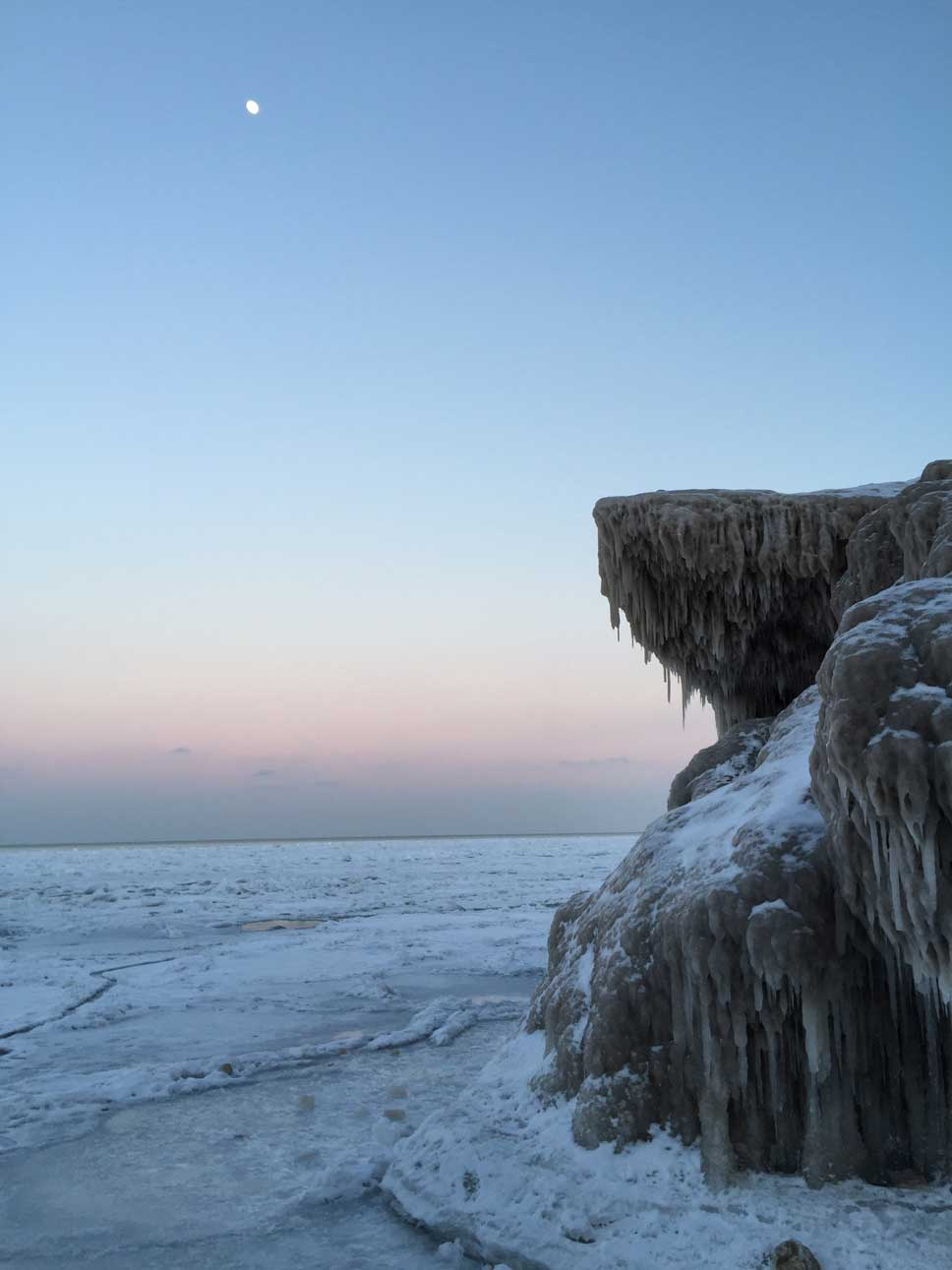 Photos of Sunrise Beach in Lake Bluff, March 1, 2015, by Adrienne Fawcett
