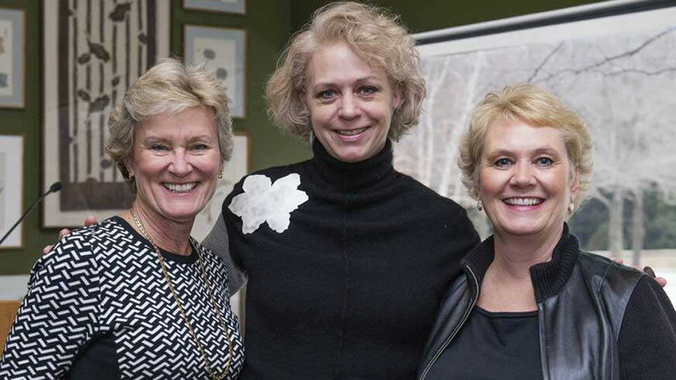 2015 ACE Co-Chair Liz Dauten, ACE Artist Christy Klug, and 2015 ACE Co-Chair Debbie Kerr.
