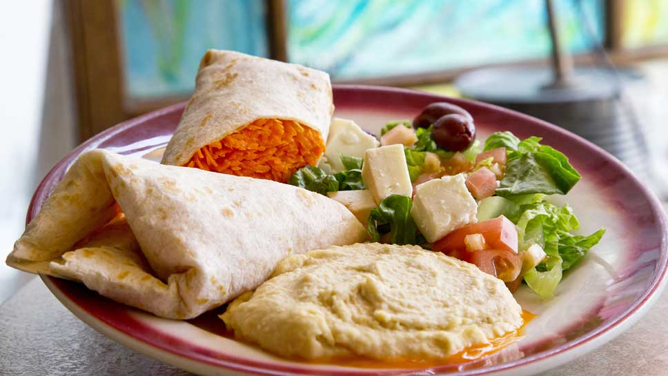Prairie Joe's Carrot Salad Burrito with Hummus and Feta is a taste-bud sensation.