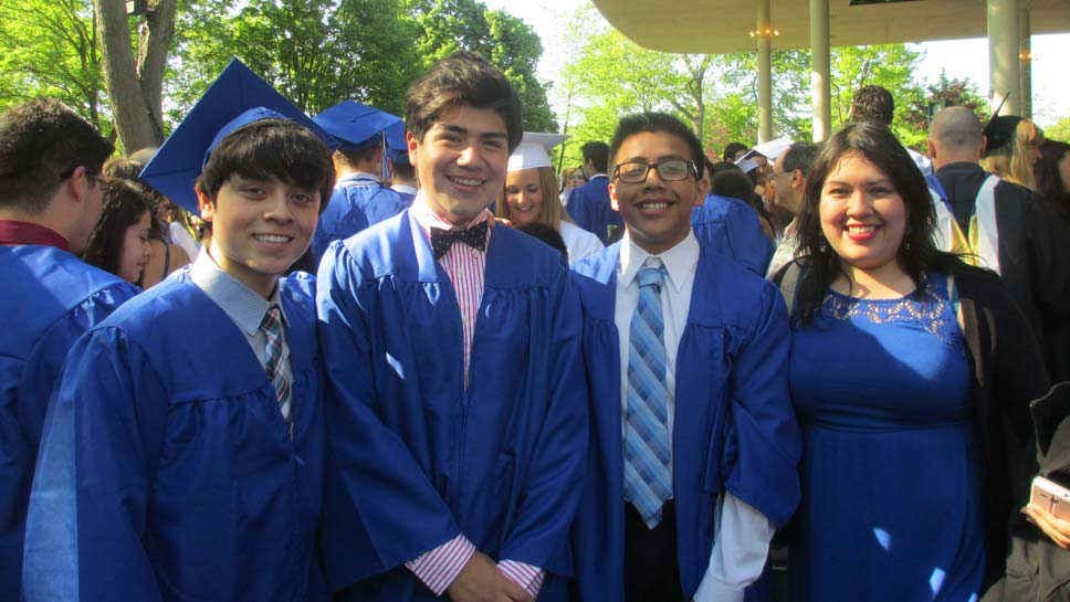 Scenes from Highland Park High School's graduation, showing students in the LYI program