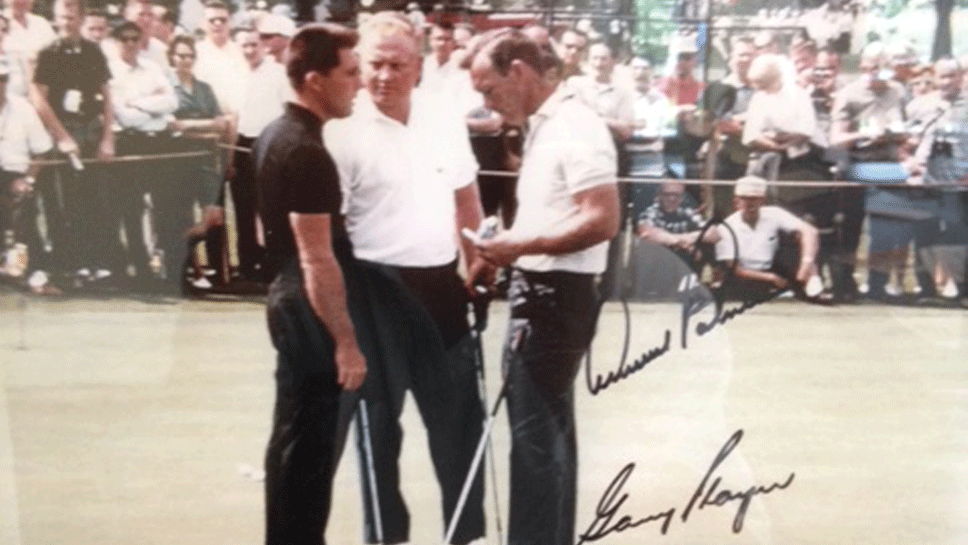 Gary Player, Arnold Palmer and Jack Nicklaus signed a picture of themselves during their 1963 match at Glen Flora Country Club.