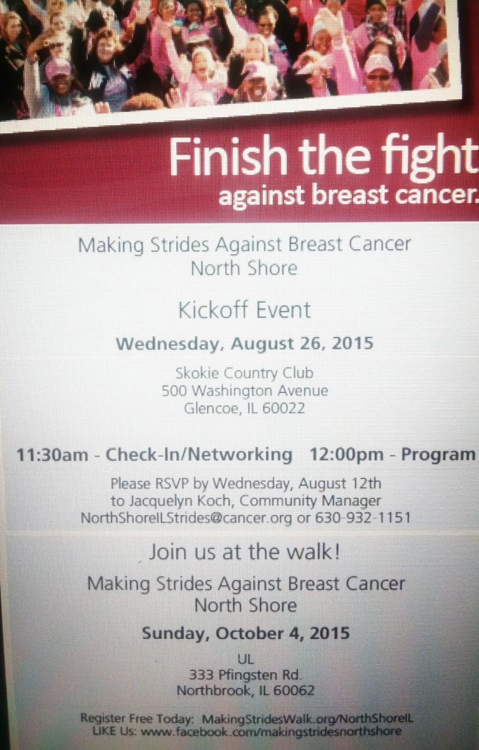 Breast Cancer Walk: Save The Date