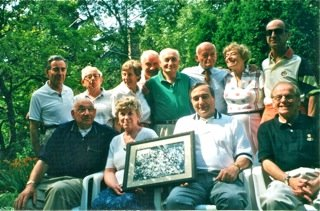 Reunion of La Hille colony survivors in Wilmette (1998). Reed (standing) at far left rear.