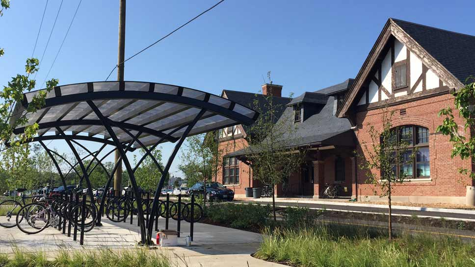 The east Lake Forest train station has a new bike shelter; photo by Adrienne Fawcett