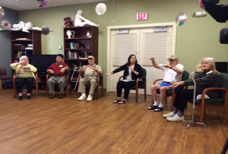 Erica Hornthal (center) leads a Dance Movement class.