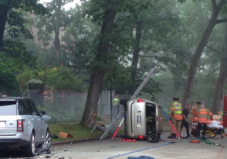 A two-vehicle crash sent the driver of the overturned car to the hospital; photo submitted by a  DNS reader