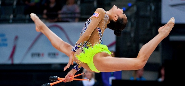 Laura Zeng at the 2015 World Rhythmic Gymnastics Championships on Sept 10. Credit: USA Gymnastics