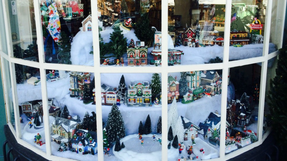 The Lake Forest Book Shore has its holiday window on display.