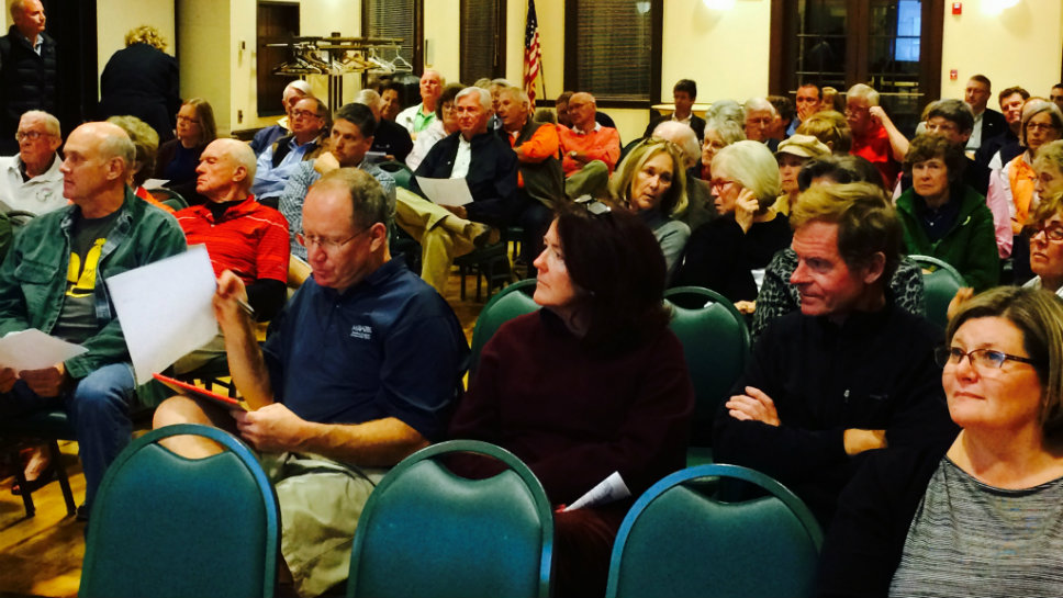 A crowd of more than 100 people heard the status of Deerpath Golf Course an offered their opinions Nov. 4 at Dickinson Hall. Photo by Steve Sadin for DailyNorthShore.com.