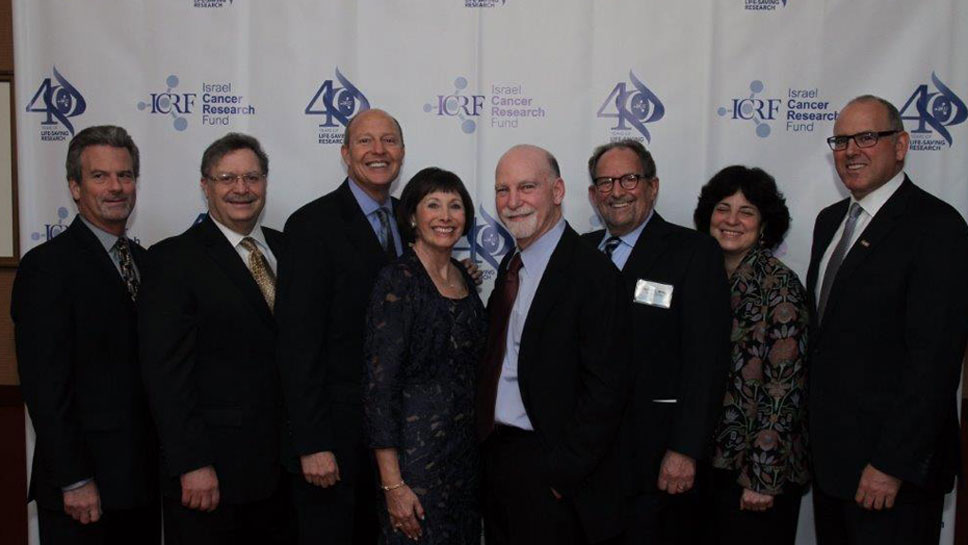 David Abramson, ICRF Chicago Board Chair from Northbrook, Ill; Eric Heffler, ICRF national executive director; Jacki and Bruce Barron from Northbrook and evening's Tower of Hope honorees; Harvey Miller, Honorary Chair, Riverwoods, Illinois; Dr. Ephrat Levy-Lahad, ICRF-funded breast cancer researcher, and Brad Goldhar, ICRF President.