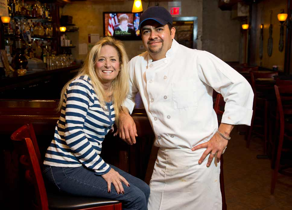 Restaurant owner Bunnie Mesirow with husband and kitchen manager Lupe Ortega; Photography by Joel Lerner