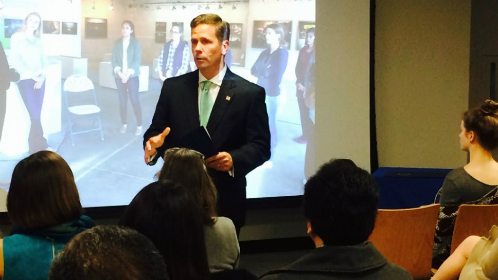Rep. Robert Dold (R-Kenilworth) talks to the a group of high school students and their families.
