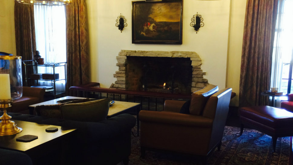 The fire place was lit in the Deer Path Inn's sitting room Dec. 5 when the hotel reopened.