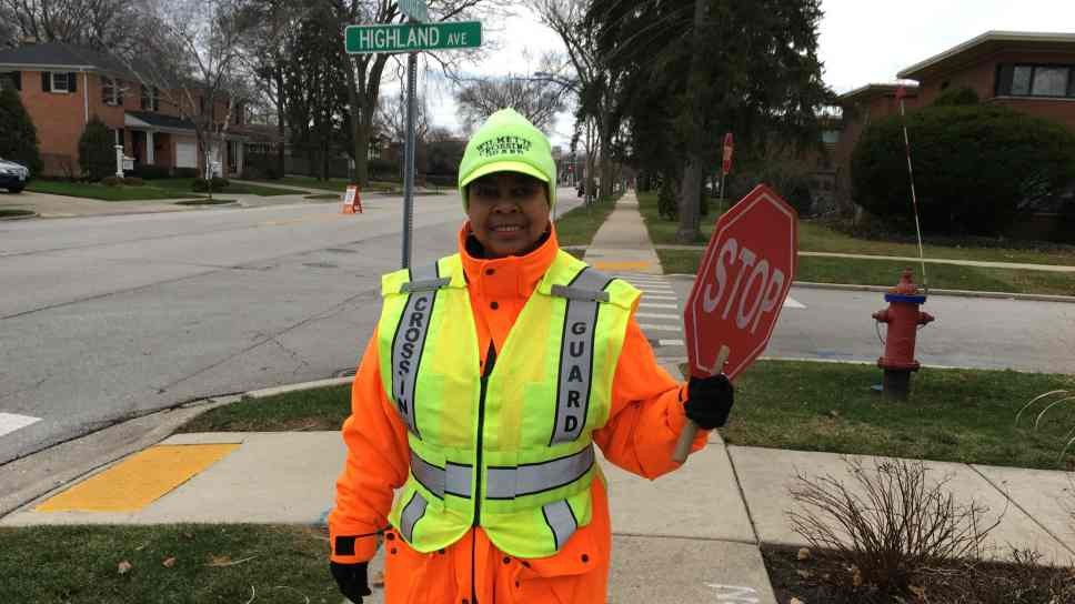 Wilmette Crossing Guard Always Cheerful