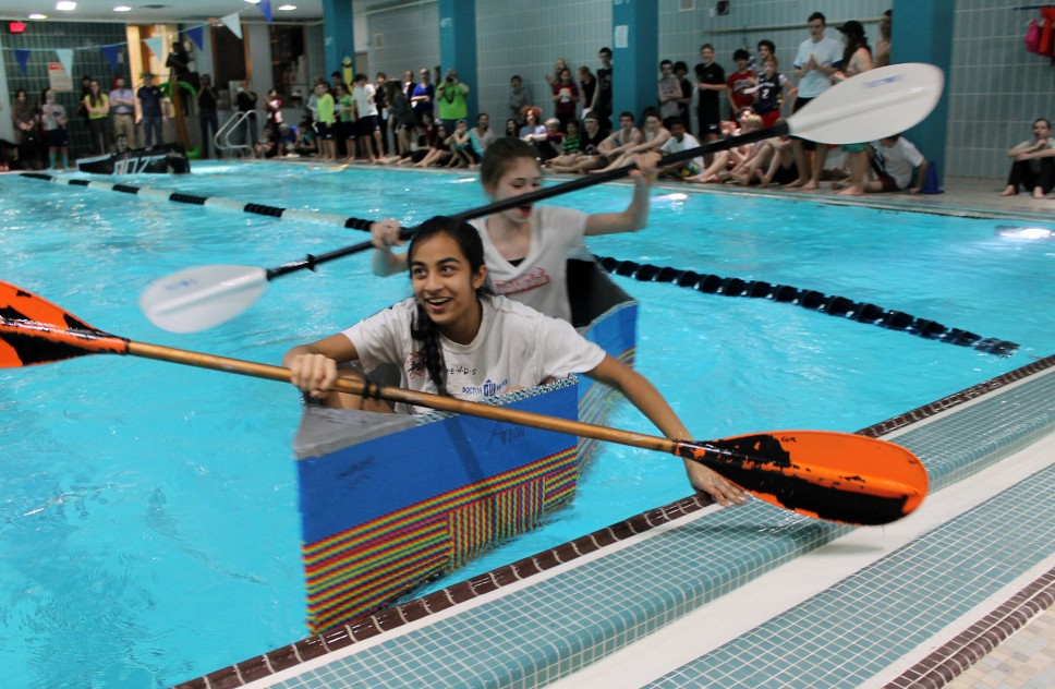 Baker 8th graders test their boat-building skills in the pool