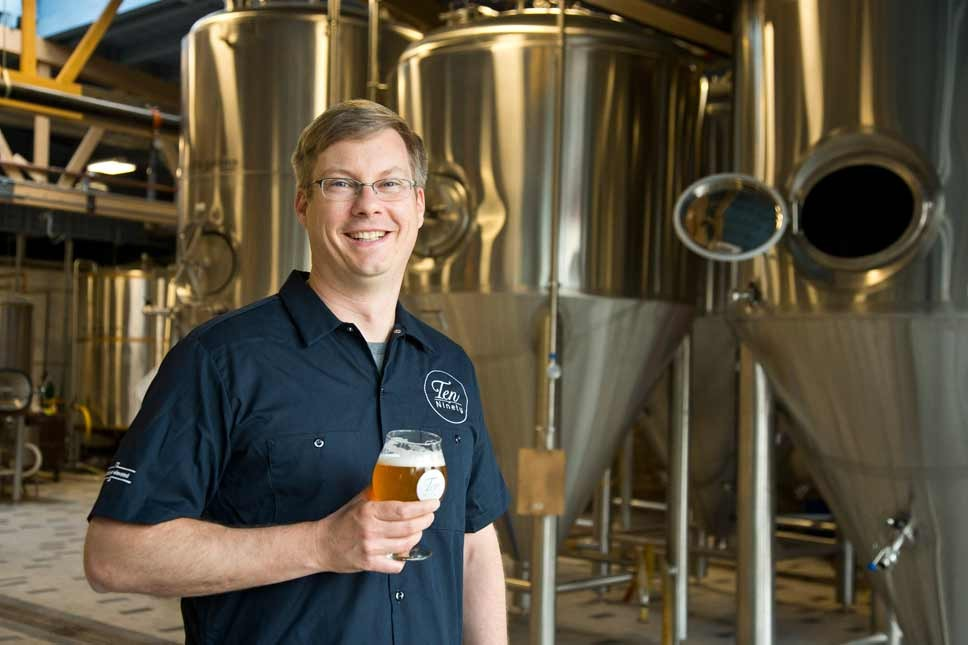 Owner Brian Schafer at Ten Ninety Brewing in Glenview. Photography by Joel Lerner/JWC Media