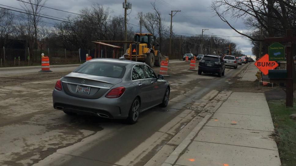 Construction on Deerfield Rd west of Ridge.