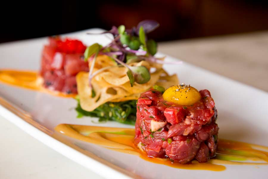 Duo Tartare with Ahi Tuna and Prime Steak at Market House