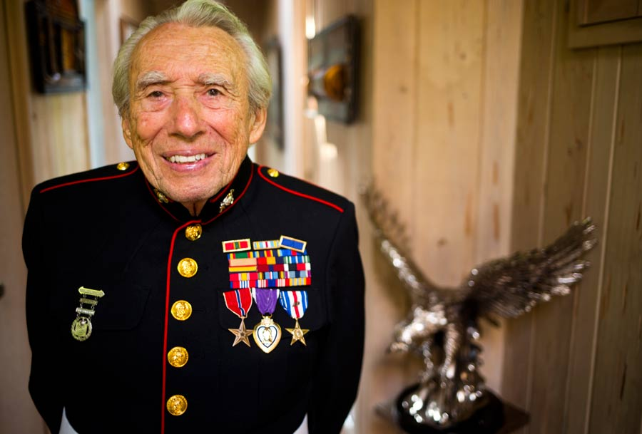 89-year-old Highland Park resident and World War II veteran Larry Klairmont still fits in his Marine uniform. Photography by Joel Lerner/JWC Media