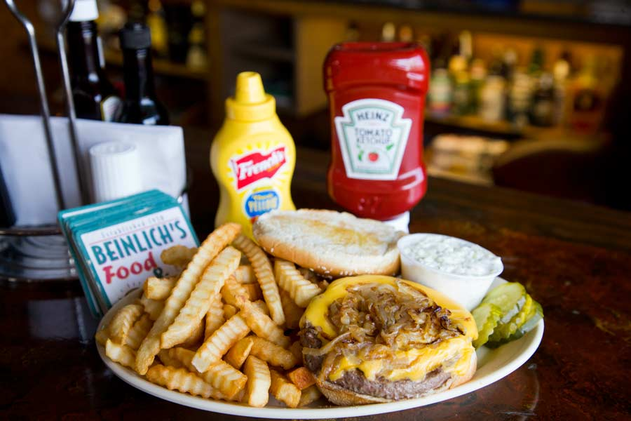 Charlie Beinlich's famous cheeseburger and fries; Photography by Joel Lerner/JWC Media