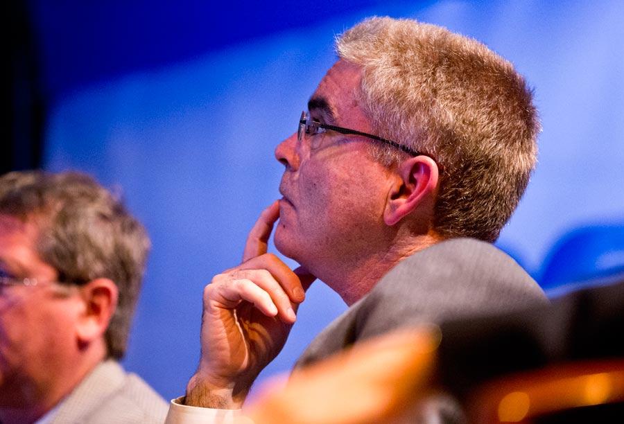 Potential investor Javier Ubarri evaluates a presentation. Photography by Joel Lerner/JWC Media