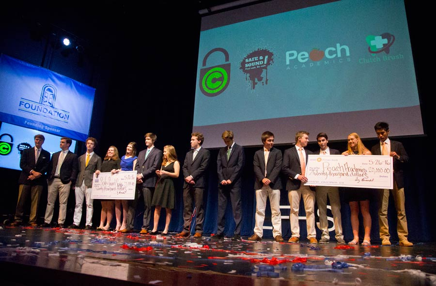Safe and Sound and Peach Academics both received 20,000 investments during Lake Forest High School Business Incubator Pitch Night . Photography by Joel Lerner/JWC Media