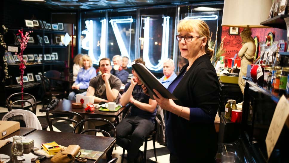 Joanna Kurowska PhD was the headliner at the Poetry Slam at Madam Zuzu's Tea in Ravinia. Photography by Joel Lerner/JWC Media