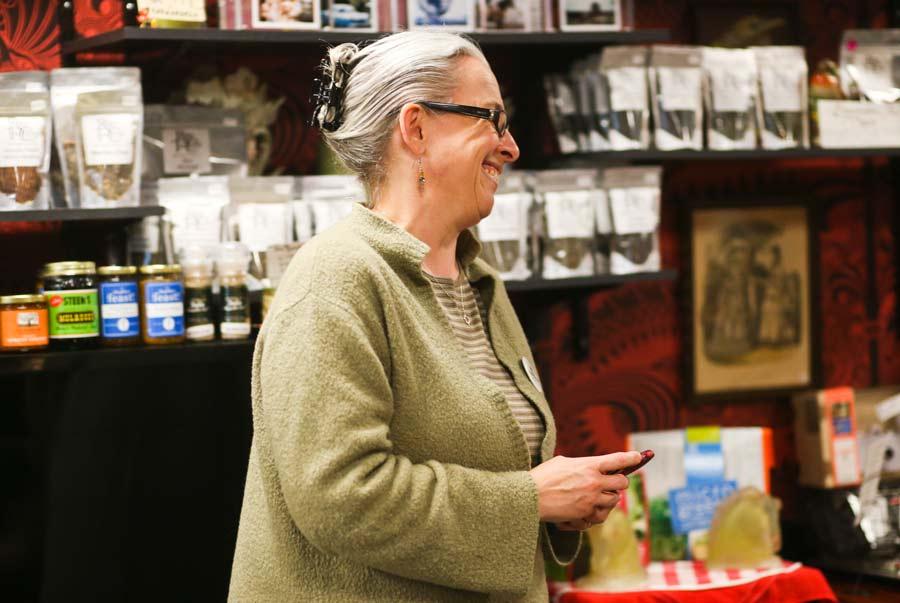 Jennifer Dotson of Highland Park recites her poem at the Poetry Slam at Madam Zuzu's Tea in Ravinia. Photography by Joel Lerner/JWC Media