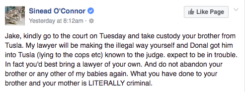 sinead o'connor facebook post