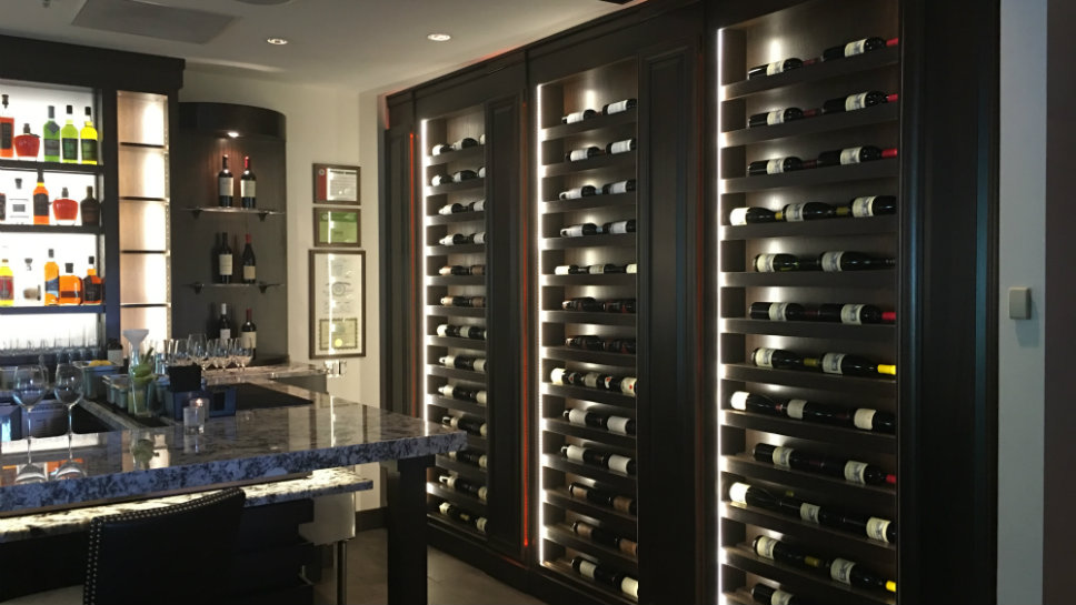 Some of the wine storage is in full view. Photo courtesy of MLG Chicago.